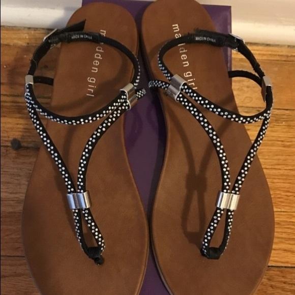 3d4de98df74 Madden Girl Black Rhinestone Sandals